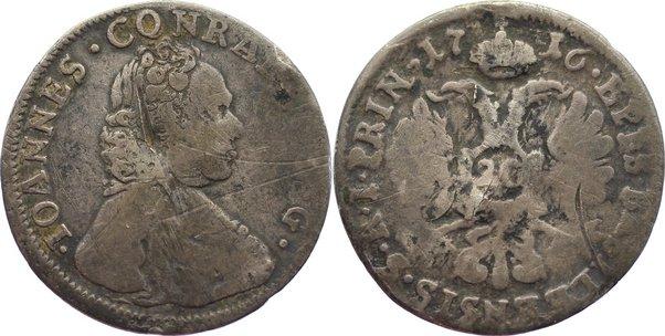 20 Kreuzer 1716 Schweiz-Basel, Bistum Johann Konrad II. von Reinach-Hirzbach 1705-1737. Kratzer, schön