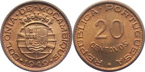 20 Centavos 1949 Mosambik portugisische Kolonie bis 1975. Stempelglanz