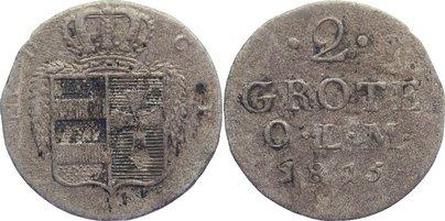 2 Grote 1815 Oldenburg Peter Friedrich Wilhelm 1785-1823. fast sehr schön
