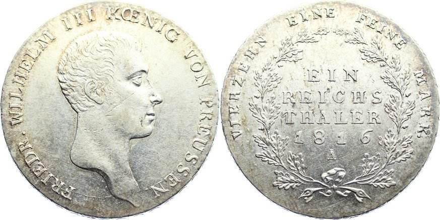 Taler 1816 A Brandenburg-Preußen Friedrich Wilhelm III. 1797-1840. min. Schrötlingsfehler, fast vorzüglich