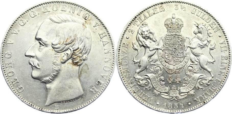Doppeltaler 1854 B Braunschweig-Calenberg-Hannover, ab 1692 Kftm. Han Georg V. 1851-1866. kl. Randfehler, fast vorzüglich