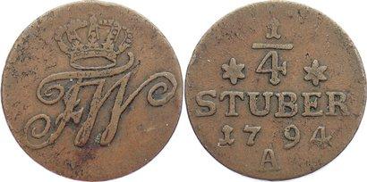 Cu 1/4 Stüber 1 1794 A Brandenburg-Preußen Friedrich Wilhelm II. 1786-1797. kl. Schrötlingsfehler, sehr schön