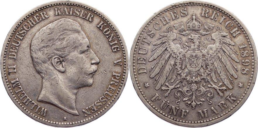 5 Mark 1898 A Preußen Wilhelm II. 1888-1918. kl. Randfehler, sehr schön