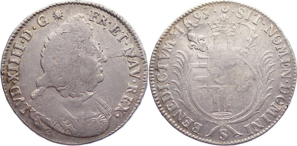 Écu aux palmes 1 1693 S Frankreich Ludwig XIV. 1643-1715. Überprägung, schön - sehr schön