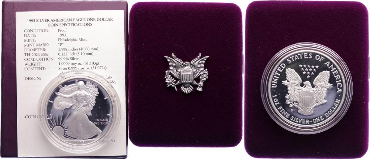 Silver Eagle 1993 USA Polierte Platte
