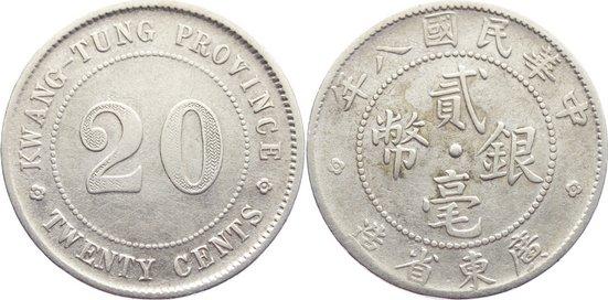 20 Cents Jahr 8 1919 China China, Republik 1912-1949. leicht berieben, sehr schön