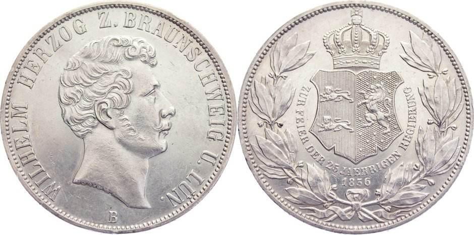 Doppeltaler 1856 B Braunschweig-Wolfenbüttel Wilhelm 1831-1884. min. Randfehler, kl. Kratzer, fast vorzüglich / vorzüglich