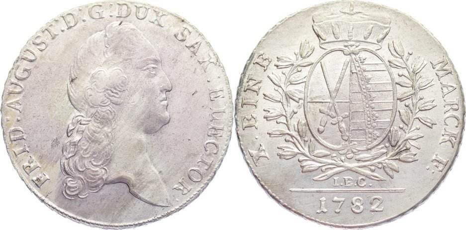 Taler 1782 Sachsen-Albertinische Linie Friedrich August III. 1763-1806. vorzüglich / vorzüglich+