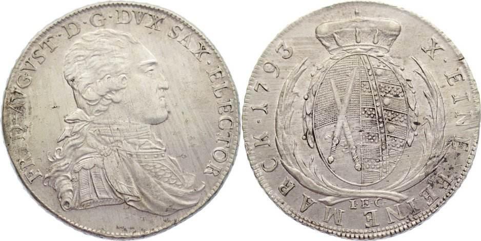 Taler 1793 Sachsen-Albertinische Linie Friedrich August III. 1763-1806. leicht justiert, fast vorzüglich