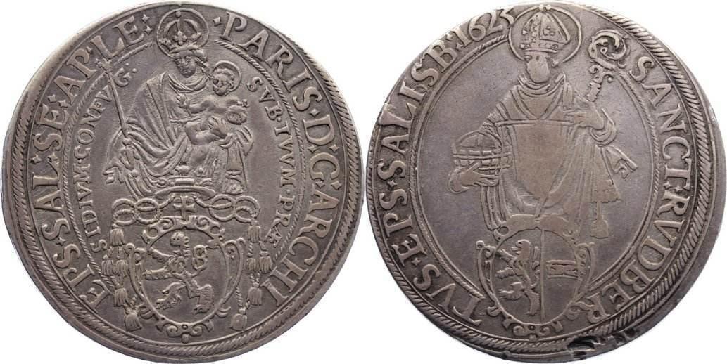 Taler 1623 Salzburg, Erzbistum Paris von Lodron 1619-1653. Revers kl. Einschläge, sehr schön