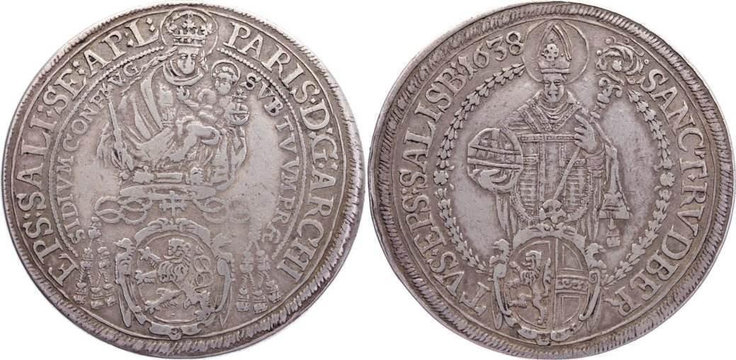 Taler 1638 Salzburg, Erzbistum Paris von Lodron 1619-1653. sehr schön