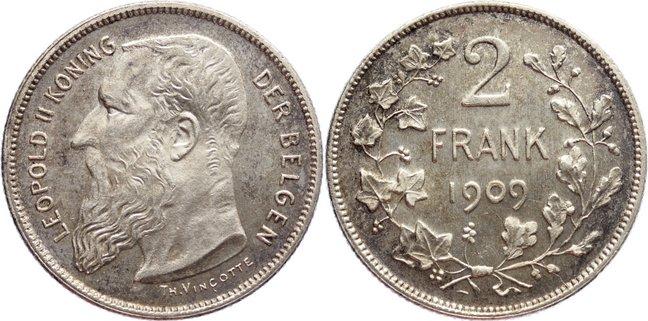 2 Francs 1909 Belgien, Königreich Leopold II. 1865-1909. min. Kratzer, vorzüglich +