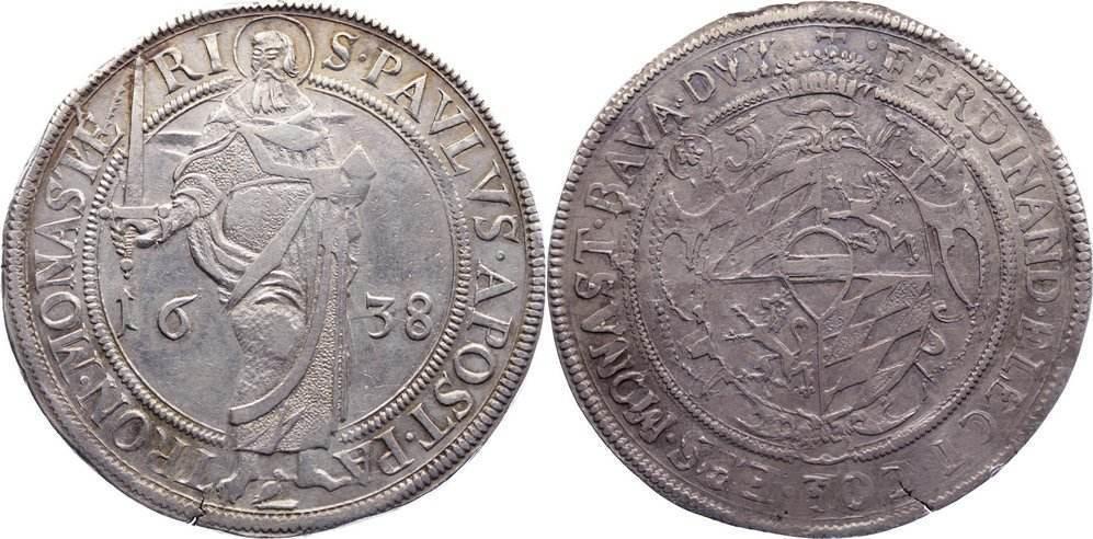 Taler 1638 Münster, Bistum Ferdinand von Bayern 1611-1650. Randfehler, sehr schön+ / sehr schön