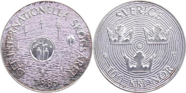100 Kronor 1985 Schweden Carl XVI. Gustaf 1973. leichte Patina, fast Stempelglanz