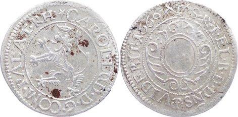 2 Kreuzer 1669 Pfalz, Kurlinie Karl Ludwig 1648-1680. min. Fundbelagreste, sehr schön +