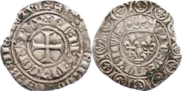 Gros aux lis sous une Couronne 1380-1422 Frankreich Karl VI. 1380-1422. Randfehler, sehr schön