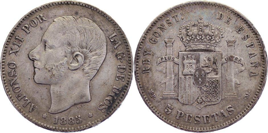 5 Pesetas 1885 Spanien Alfons XII. 1874-1885. kl. Randfehler, sehr schön