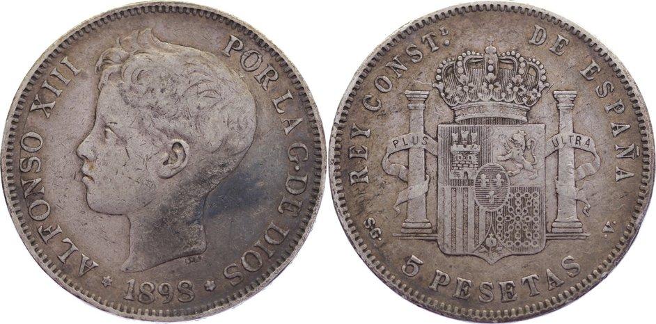 5 Pesetas 1898 SG Spanien Alfons XIII. 1886-1931. kl. Randfehler, sehr schön