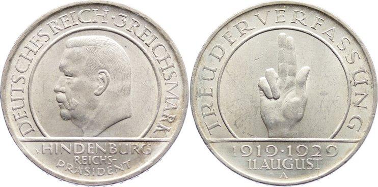 3 Reichsmark 1929 A Weimarer Republik Gedenkmünzen 1918-1933. kl. Kratzer, vorzüglich - Stempelglanz