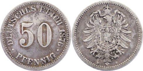 50 Pfennig 1876 D Kleinmünzen fast sehr schön