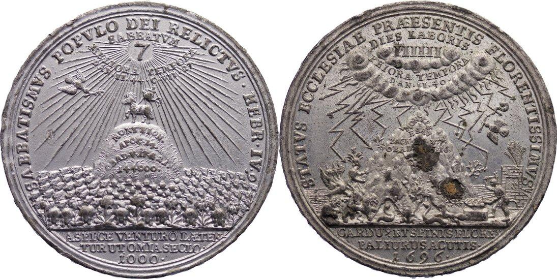 Zinnmedaille 1696 Sachsen-Gotha-Altenburg Friedrich II. 1691-1732. äußerst selten, Revers mit Silberfarbe gestrichen, Avers Korrossionsflecken, vorzüglich