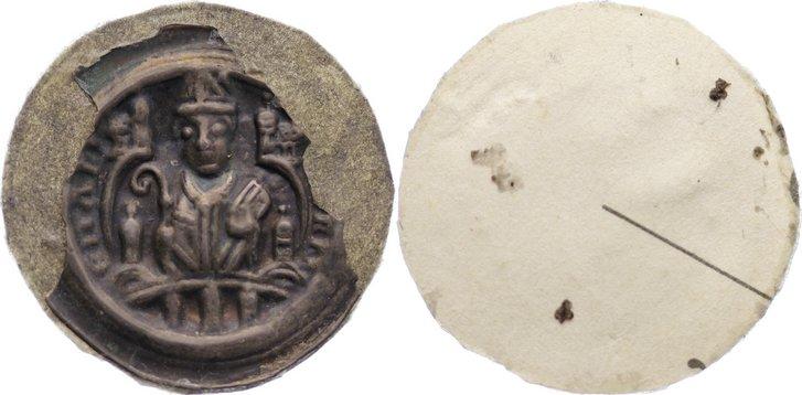 Brakteat (Fragment) um 1195 Wetterau, Aschaffenburg, erzbischöflich mainzische Konrad von Wittelsbach, 2.Regierung 1183-1200. sehr selten, hinterklebt, sehr schön