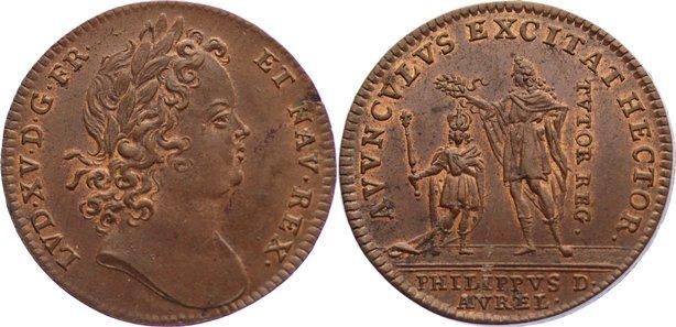 Jeton 1715-1774 Frankreich Ludwig XV. 1715-1774. kl. Schrötlingsfehler, vorzüglich - Stempelglanz