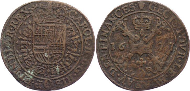 Jeton 1677 Belgien-Brabant Karl II. 1665-1700. leichter Belag, Schrötlingsfehler, sehr schön