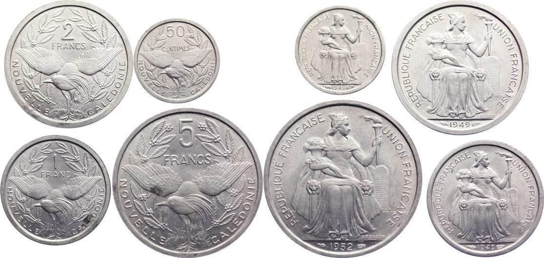 Lot von vier Münzen zu 50 Cent., 1, 2 und 5 Francs 1949 Neu Kaledonien teilweise leicht fleckig, prägefrisch