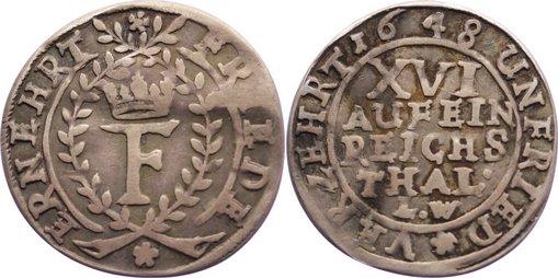 1/16 Taler 1648 LW Braunschweig-Lüneburg-Celle Friedrich von Celle 1636-1648. leicht gewellt, sehr schön