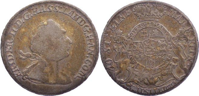 1/4 Taler 1766 FU Hessen-Kassel Friedrich II. 1760-1785. alte Patina, fast sehr schön