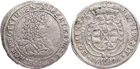 6 Kreuzer 1678 Öttingen Albrecht Ernst I. 1659-1683. kl. Schrötlingsfehler, sehr schön