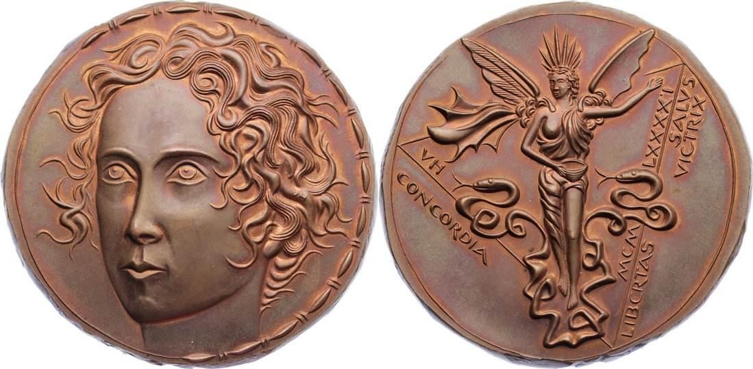 Bronzemedaille 1991 Medailleure Huster, Victor. prägefrisch