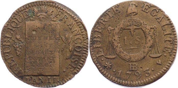 Sol aux Balances 1793 BB Frankreich Ludwig XVI. 1774-1793. fast sehr schön