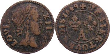 Deniers tournois 1649 A Frankreich Ludwig XIV. 1643-1715. fast sehr schön