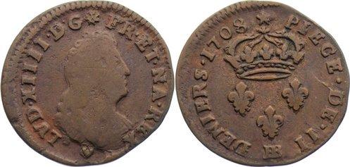 2 Deniers de Strasbourg 1708 BB Frankreich Ludwig XIV. 1643-1715. fast sehr schön / sehr schön