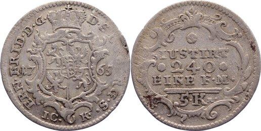 5 Kreuzer 1765 Sachsen-Coburg-Saalfeld Ernst Friedrich 1764-1800. selten, sehr schön