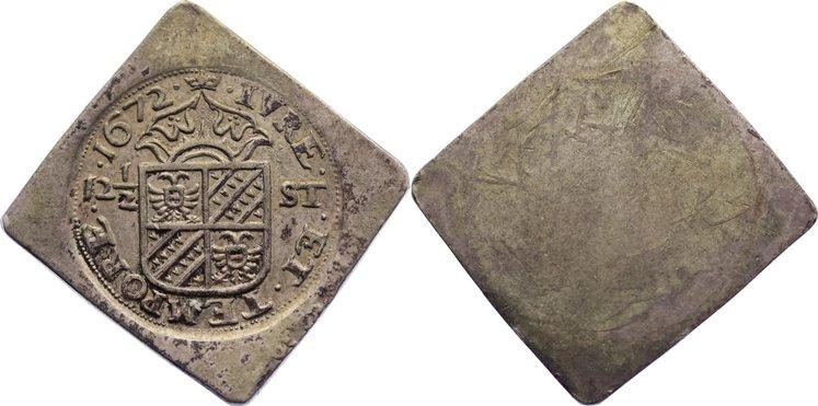 Einseitige Notmünze zu 12 1/2 Stüber 16 1672 Niederlande-Groningen, Stadt sehr schön - vorzüglich