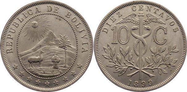 10 Centavos 1899 Bolivien (Vizekönigreich Peru) Republik. prägefrisch