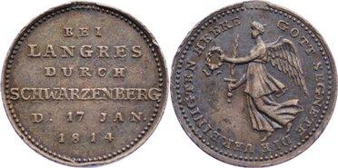 1814 Befreiungskriege Auf die Ereignisse der Jahre 1813-1815 ohne Öse, feine Patina, Randfehler, vorzüglich