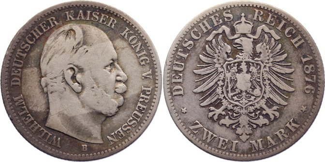 2 Mark 1876 B Preußen Wilhelm I. 1861-1888. schön