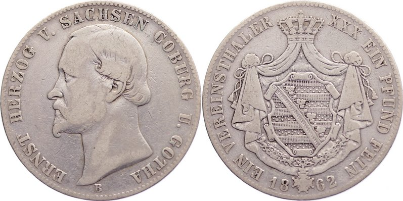 Taler 1862 B Sachsen-Coburg-Gotha Ernst II. 1844-1893. fast sehr schön