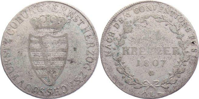 20 Kreuzer 1807 L Sachsen-Coburg-Saalfeld Ernst 1806-1826. schön +