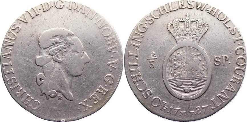 2/3 Speciestaler 1787 B Schleswig-Holstein, Königliche Linie Christian VII. 1766-1808. min. Randfehler, fast sehr schön