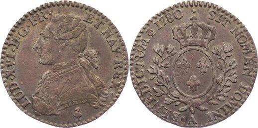 1/10 Écu 1 1780 A Frankreich Ludwig XVI. 1774-1793. sehr schön-vorzüglich