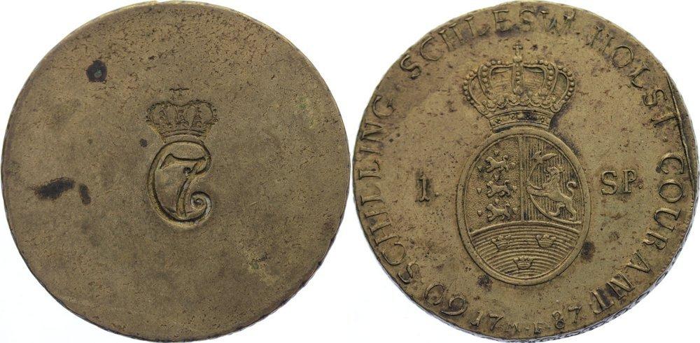 Messing Normalgewicht zu einem Speciedaler 1787 Schleswig-Holstein, Königliche Linie Christian VII. 1766-1808. selten, kl. Stempelfehler, sehr schön - vorzüglich