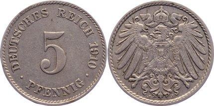 5 Pfennig 1910 J Kleinmünzen sehr schön +