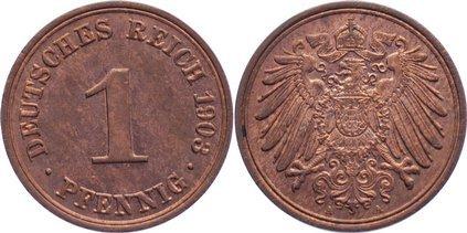 1 Pfennig 1903 A Kleinmünzen fast Stempelglanz