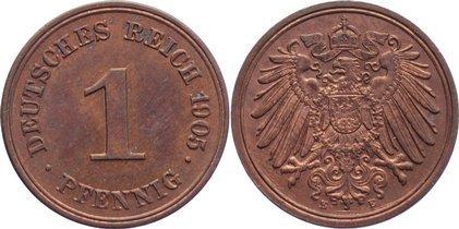1 Pfennig 1905 E Kleinmünzen kl. Kratzer, vorzüglich - Stempelglanz