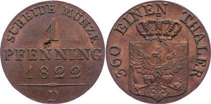 Cu Pfennig 1822 A Brandenburg-Preußen Friedrich Wilhelm III. 1797-1840. Schrötlingsfehler, vorzüglich - Stempelglanz